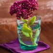 Flower in turquoise glass — Stock Photo