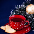 Tea with New Year's cookies — Stock Photo