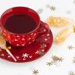 Stock Photo: Christmas teand crystal sugar