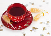 Christmas tea and crystal sugar — Stock Photo