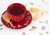 Christmas tea and crystal sugar — Stock Photo