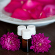 Massage oil with  flowers — Stock Photo