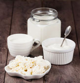 Milk, sour cream and cottage cheese — Stockfoto