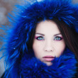 Young woman in a snowy furry hood — Stock Photo #38380819