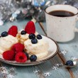 Stock Photo: Coffee and Christmas dessert with fresh berries