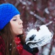 Stock Photo: Girl Wearing Warm Winter Clothes And Hat Blowing Snow In Winte
