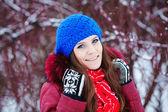 Young woman winter portrait. — Стоковое фото