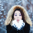 Stock Photo: Christmas Girl.Winter womBlowing Snow