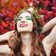 Autumn Woman Portrait. Beauty Fashion Model Girl with Autumnal M — Stock Photo