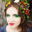 Stock Photo: Autumn WomPortrait. Beauty Fashion Model Girl with Autumnal M
