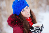 Beautiful Happy Smiling Winter Woman with Mug Outdoor. — Stock Photo