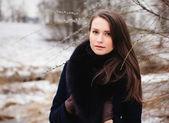 Beautiful girl in winter - close up — Stock Photo