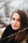 Beautiful girl in winter - close up — Stock Photo