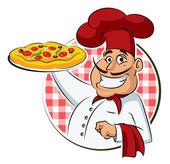 Cook Pizza. — Stock Vector