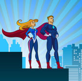 Super Heroes - Male and Female — Stock Vector
