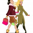 Stock Vector: Walking women