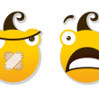 Angry and sad smileys — Stock Vector