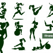 Stock Vector: Woman fitness set