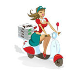 Pizza. Woman. Scooter — Stock Vector