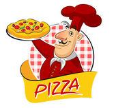 Cook pizza — Stock Vector