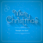 Merry Christmas lettering blue background, vector illustration — Stock Vector