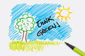 Hand painting with the text think green — Stock Photo