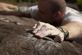 Climber on rocks — Stock Photo