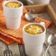 Pumpkin-corn soup — Stock Photo