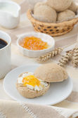 Breakfast with muffin, cheese and jam — Stock Photo