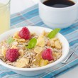 Breakfast cereal, coffee and juice — Stock Photo
