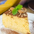 A piece of pumpkin cheesecake close up vertical — Stock Photo