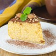 A piece of pumpkin cheesecake closeup — Stock Photo