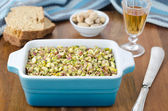 Chicken liver pate with pistachios close up horizontal — Stock Photo