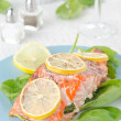 Baked salmon fillet with lemon and spinach — Stock Photo