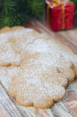 Ginger biscuits sprinkled with icing sugar under the tree — Stock Photo