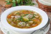 Plate of vegetable soup with meatballs — Stock Photo