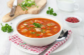 Bowl of roasted tomato soup with beans, celery and sweet pepper — Stock Photo