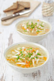 Vegetable soup with chicken and parsley — Stock Photo