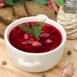 Ukrainian and russian national red borsch with herbs — Stock Photo #18838849