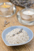 Sea salt with lavender and two candles — ストック写真