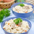 Two bowls Uzbek national dish pilaf — Stock Photo
