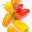 Mix of fresh colorful sweet peppers closeup — 图库照片