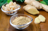 Three kinds of ginger - ground, fresh and candied — Stock Photo