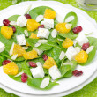 Royalty-Free Stock Photo: Salad with spinach, feta and orange top view