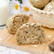 Bread rolls wholemeal with oat flakes is a sectional horizontal — Stock Photo