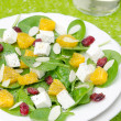 Salad with spinach, feta and orange closeup — Stock Photo