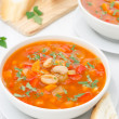 Vegetable soup with white beans in a bowl vertical — Zdjęcie stockowe