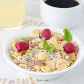 Cereal, coffee and juice for breakfast — Stock Photo