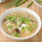 Chinese spicy soup with egg, shiitake mushrooms, tofu and green — Stock Photo