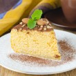 Piece of pumpkin cheesecake closeup — Stock Photo